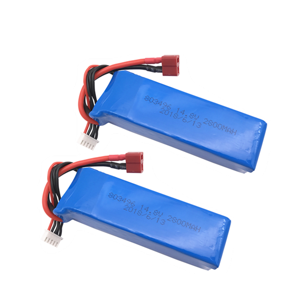 2 pcs Li-PO battery 803496 14.8V <font><b>2800mAh</b></font> 30C <font><b>4S</b></font> T Plug for FT010 FT011 RC boat <font><b>Lipo</b></font> Battery Free shipping image