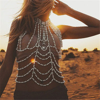 OATHYAN European Fashion Full Pearl Body Shoulder Chain Jewelry Necklace Unique Bikini Harness Dress Sexy Body