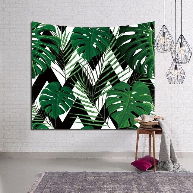 Feuilles Tropicales Tapisserie Mandala Tenture Boheme Art Decoratif