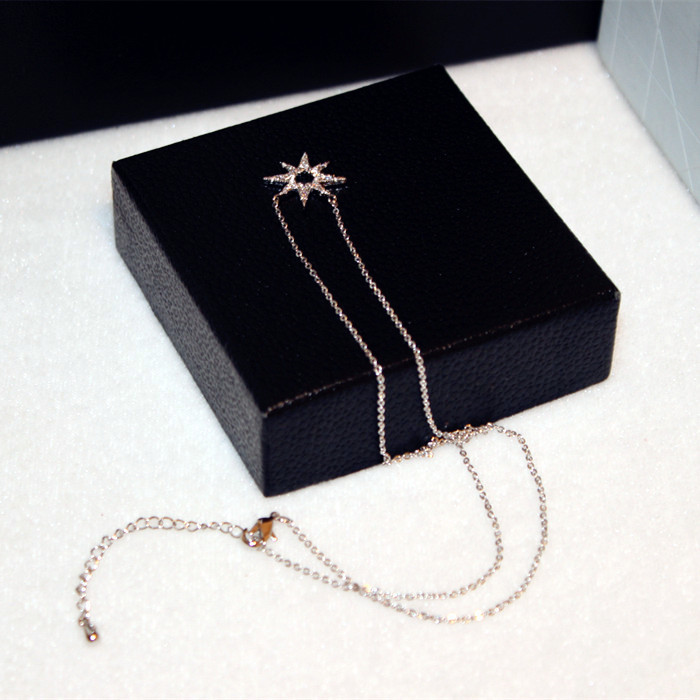 Hot Selling Rose Gold Color Short Necklace Women Bijoux Fashion Jewelry Micro Pave Zircon Star Necklaces Pendants Cute in Pendant Necklaces from Jewelry Accessories