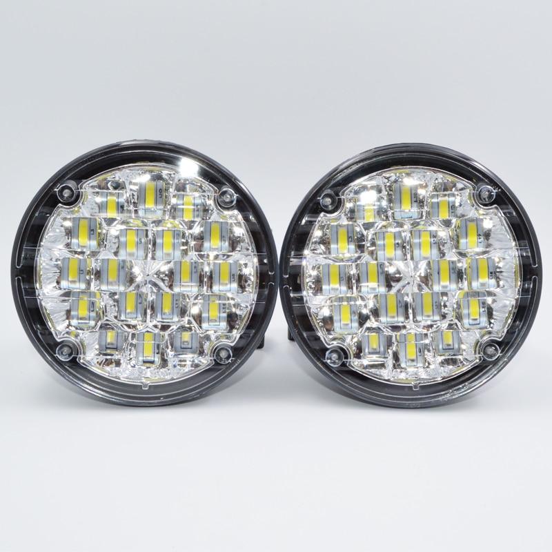 1pair White 18 LED DRL Round Daytime Running Light Car Fog Light Driving Lamp For Truck SUV ATV Motorcycle Bike