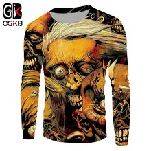 OGKB Autumn Jumpers New Loose Long Sweatshirts 3D Printing Skulls Harajuku Plus Size 5XL Attire Unisex Clothing(China)