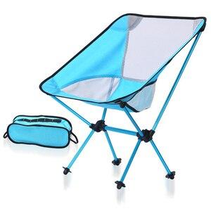 Image 1 - Chaise de pêche intérieure extérieure tabouret de Camping mobilier dextérieur Portable bleu violet léger 600D Oxford chaises en tissu