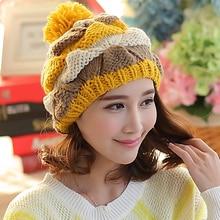 Мода Осень Зима Теплая Шляпа Женщины Шапочка Вязаная Повседневная Шапки Skullies Шляпы