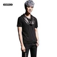 Punk Gothick Tarzı Defile Kostümleri erkek Yaz Kısa Kollu Kapüşonlu T-shirt Erkek Rahat hoody Tees Gömlek