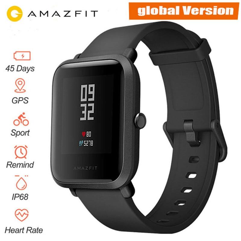 Version mondiale Xiaomi Huami Amazfit Bip montre intelligente moniteur de fréquence cardiaque GPS Gloness Smartwatch 45 jours en veille pour téléphone MI8 IOS