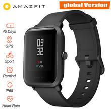 Wersja globalna Xiaomi Huami Amazfit Bip smart watch pulsometr GPS system gld Smartwatch 45 dni w trybie gotowości do telefonu MI8 z systemem IOS tanie tanio Passometer Nastrój tracker Termometr Uśpienia tracker Kalendarz Zasilania Rezerwy Miesiąc Tracker fitness Wiadomość przypomnienie