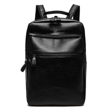 Men Business Casual Backpacks for School Travel Bag Black PU Leather Men's Fashion Shoulder Bags Vintage Boys Male Backpack Bags etonweag brand leather backpack men school backpacks for boys black luxury school bags big capacity barrel shaped travel luggage