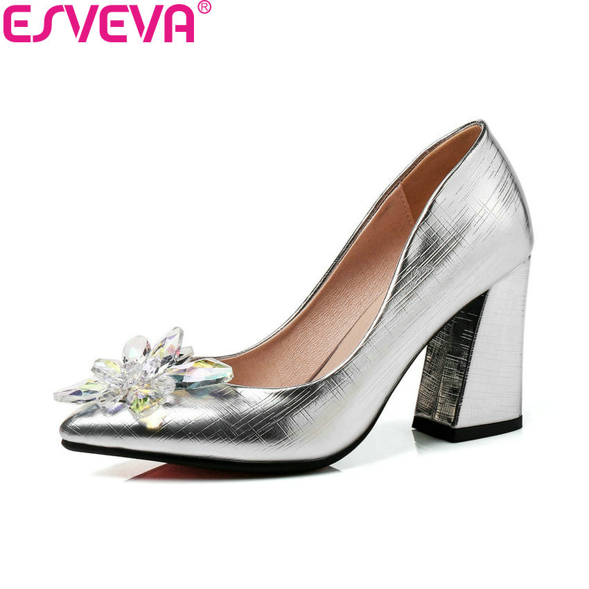 ESVEVA 2018 Women Pumps Red Wedding Crystal Three Kinds Heel Height Square High Heels Shoes Pointed Toe Women Shoes Size 34-43 red crystal