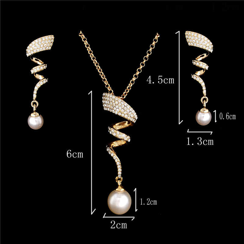 SHUANGR Vintage Imitation Pearl necklace Gold jewelry set for women Clear Crystal Elegant Party Gift Fashion Costume Jewelry Set