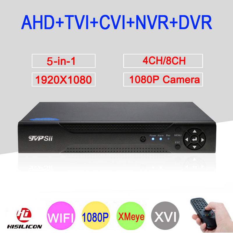 XMeye 1080P 4CH/8CH Full HD Surveillance Video Recorder 5 in 1 Coaxial Hybrid Wifi Onvif NVR TVI CVI AHD CCTV DVR Free Shipping new 4 ch channel h 264 home network 5 in 1 mini cctv 1080p hdmi ahd tvi cvi dvr onvif nvr p2p security video recorder systems
