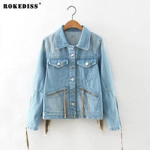 ROKEDISS Women Basic Coats Autumn And Winter Women Denim Jacket Vintage Long Sleeve Loose Female Jeans Coat Casual Girls Outwear