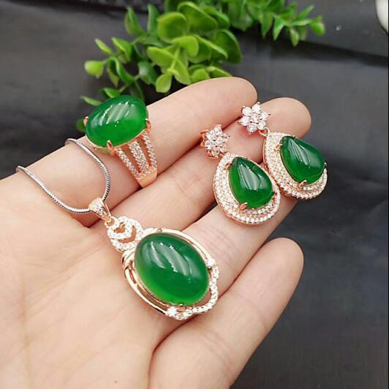 Yu Xin Yuan Fine Jewelry Natural 925 silver Chalcedony jewelry sets necklace earrings ring for women