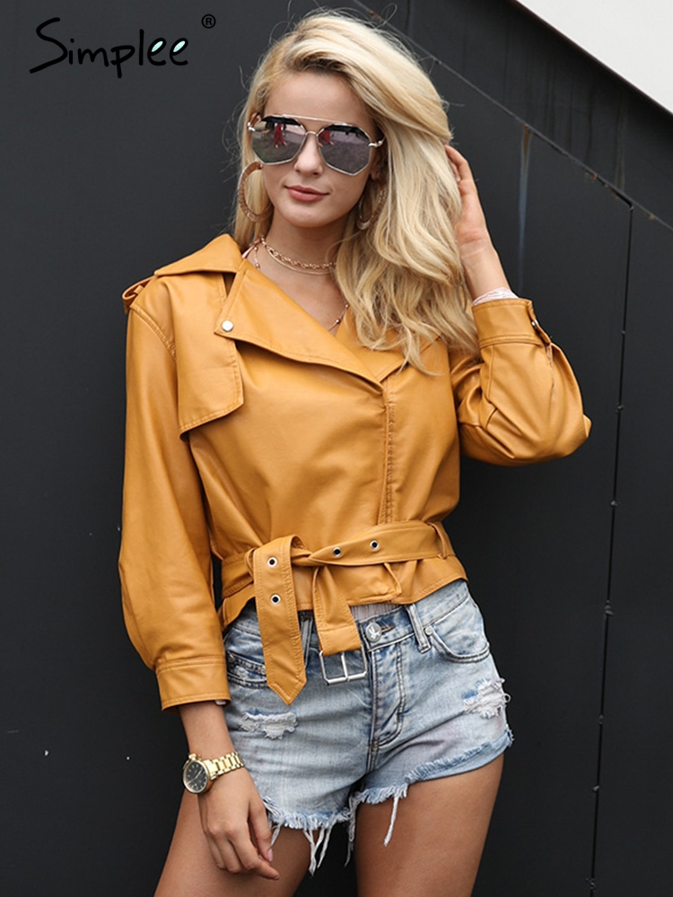 Simplee PU   leather   jacket coat female Belt basic jacket Casual outerwear faux   leather   coat Fashion yellow three quarter sleeve