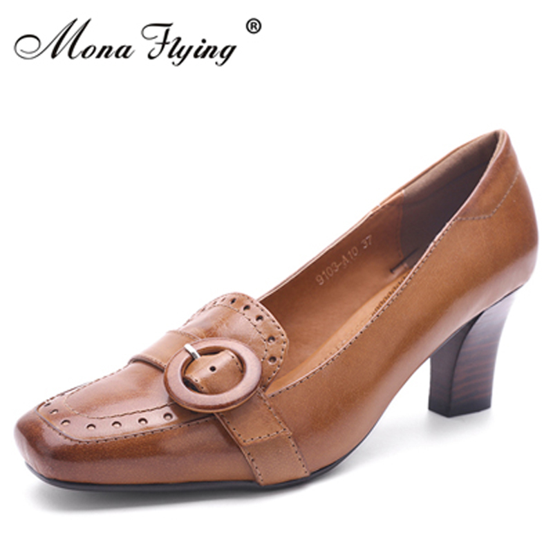 2018 New genuine leather shoes high heels women shoes square toe dress pumps for women office ladies pure leather shoes 9103-A10 zorssar 2018 new fashion buckle genuine leather thick heel womens shoes heels square toe high heels pumps ladies office shoes