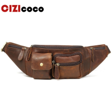 Genuine Leather Waist Bag Mens Fanny Pack Belt Men Sling New Casual Money Wallet