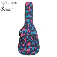 40/41 Inch Tartan Printed Folk Acoustic Guitar Bag Double Straps Canvas Pad 10mmCotton Thickening Soft Cover Waterproof Backpack