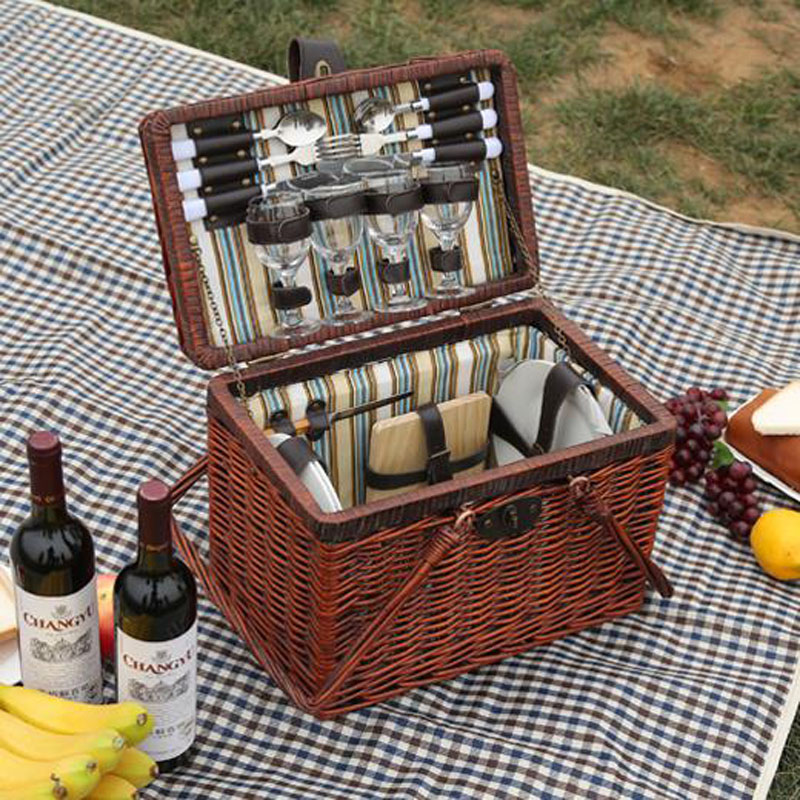 vintage wicker picnic basket set for 4 persons cesta picnic ...