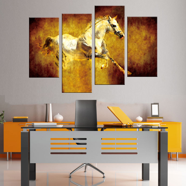4 pcs set animal white horse canvas prints paintings retro jumping horse wall paintings for