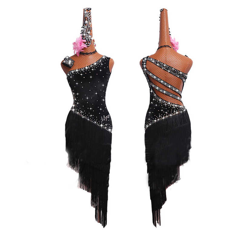 ZX Womens V Back Rhinestone Deco Fringe Dance Party Dress Latin Ballroom Dress