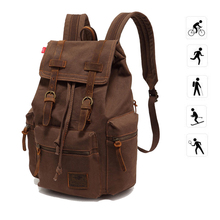 30L Tactical Men's  Vintage Canvas Backpack Portable High Capacity Laptop School Outdoor Sports Bag For Camping Hiking Climbing