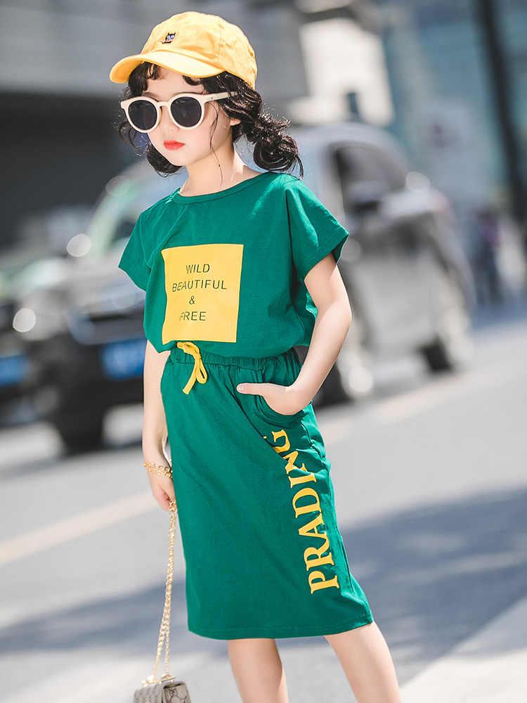 2019 בוטיק ילדים פעוט סט בגדי ילדה תלבושות קיץ קצר שרוול חולצת טי + חצאית בגיל ההתבגרות חדש אופנה אימונית 9 10 12 14