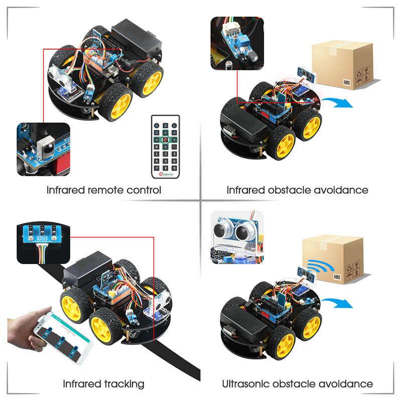 Emakefun Voor Arduino Robot 4WD Cars App Rc Afstandsbediening Bluetooth Robotics Learning Kit Educatief Stem Speelgoed Voor Kinderen Kid
