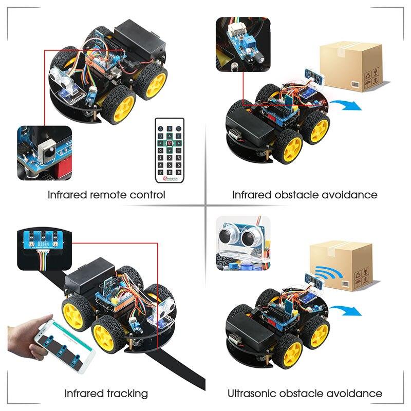 Emakefun pour Arduino Robot 4WD voitures APP RC télécommande Bluetooth robotique Kit d'apprentissage tige éducative jouets pour enfants enfant - 2