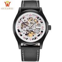 Nieuwe OUYAWEI Man Automatische Mechanische Horloge Mannen Lederen Band Analoge Horloge Mode Horloges Relogio Masculino Skelet Horloge