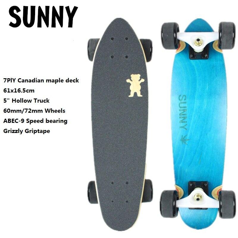 24 61x16 5cm Cruiser Skateboard Complete Longboard Skateboard Mini Size 7ply Canadian Maple Dying Deck Old