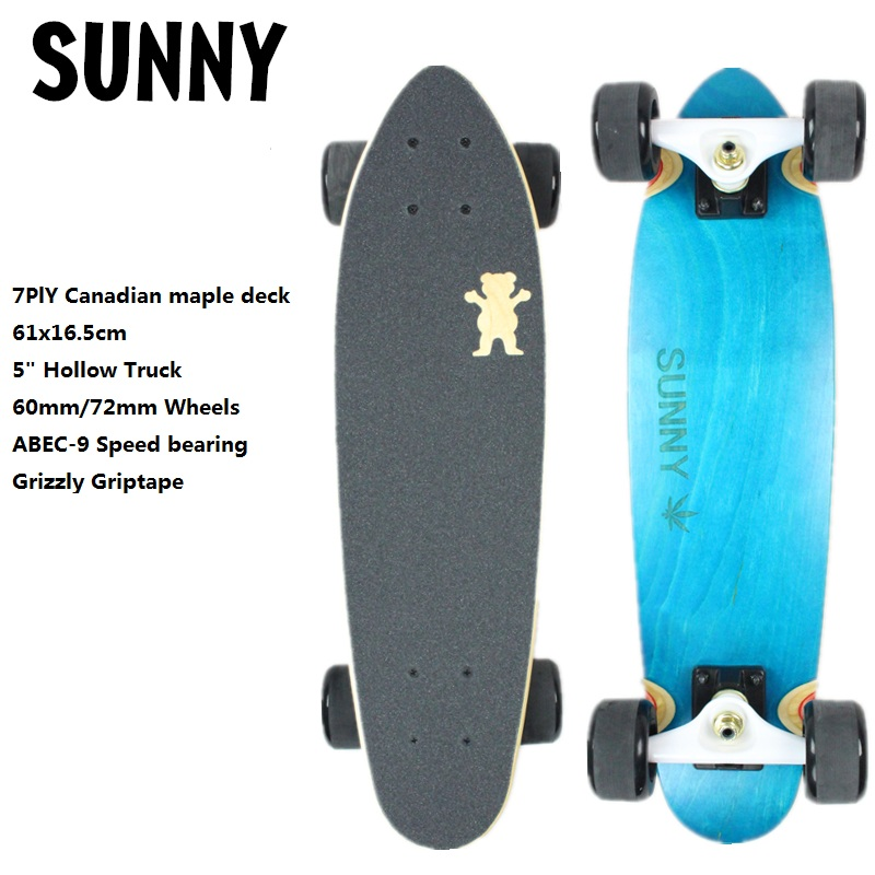 "24"" 61x16.5cm Cruiser Skateboard Complete Longboard Skateboard Mini Size 7ply Canadian Maple Dying Deck Old School Cruiser"
