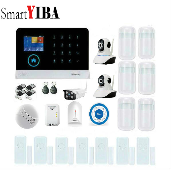 SmartYIBA RFID 3G WiFi Home Burglar Security Alarm System Gas/Glass Break Sensor Fire/Smoke Detector Network Camera Surveillace yobang security gsm wifi auto dial home alarm system rfid tags intelligent alarma kits glass break sensor strobe siren sensor