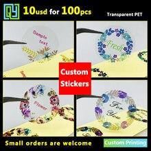 100 sztuk 35mm naklejki, możliwość personalizacji etykiety przezroczyste naklejki jasne dziękuję naklejki Logo marki naklejki etykiety samoprzylepne drukowanie