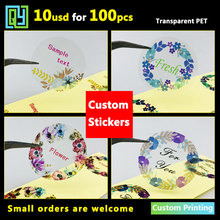100pcs 35mm Custom Stickers Label Transparent Stickers Clear Thank You Stickers Logo Brand Sticker Adhesive Labels Printing