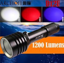 ARCHON D12U linterna de buceo de 100M, luz de buceo con zoom (blanco + rojo + azul luz CREE LED), linterna subacuática de 1200 lúmenes