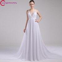 2017 Vestidos Longo A Line Chiffon With Beading Sleevelss Wedding Dresses White Bridal Gowns Floor Length