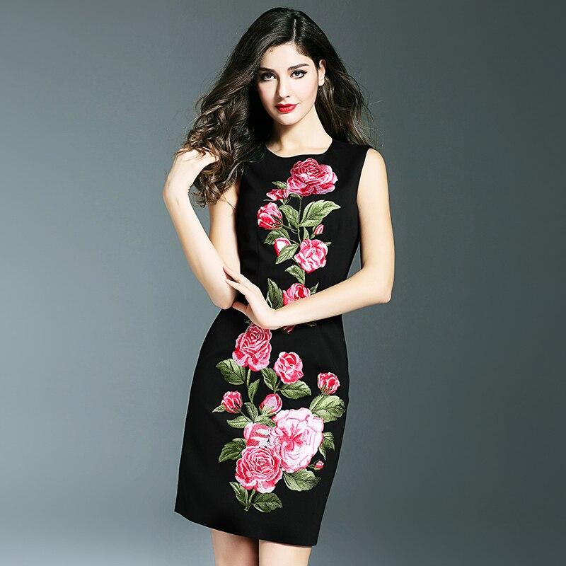 Aliexpress.com  Buy Vintage Rose Flower Embroidery Dress Fashion O Neck Sleeve Work Dresses ...