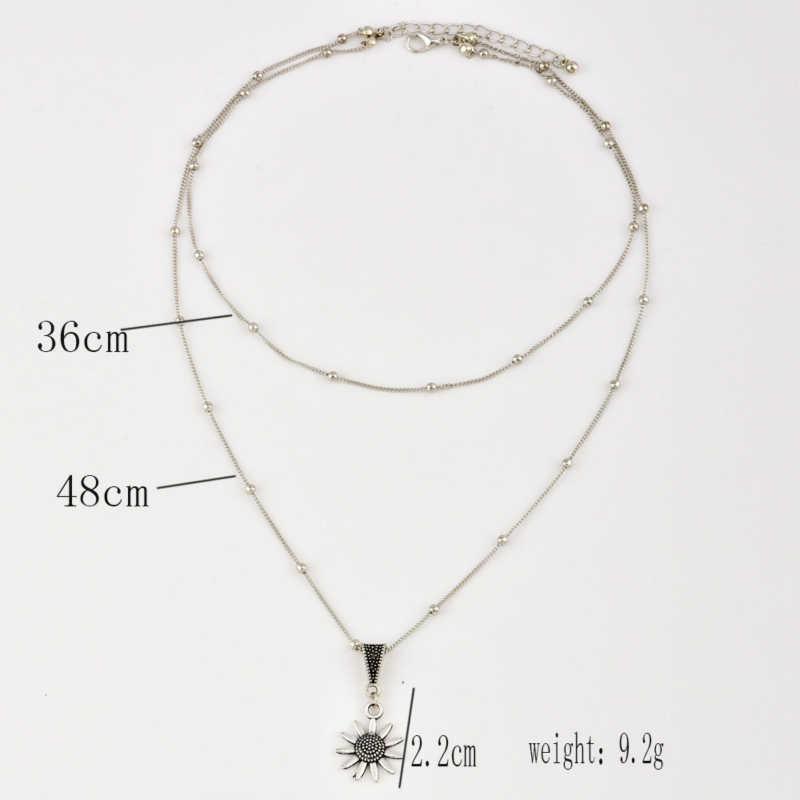 Novo boho jóias multi camada de prata frisado gargantilha colares para mulheres sexy girassol pingente vintage colar steampunk