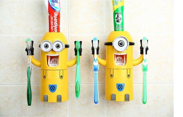 2015 новый милый миньоны дизайн комплект мультфильм minecraft зубных щеток автоматический зубная паста распределитель с щеткодержатель кубок бесплатная доставка