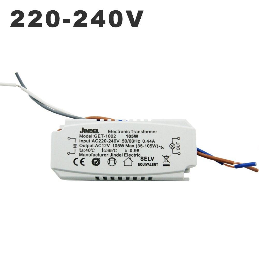 Ca 220V à ca 12V transformateur électronique 60W 105W 120W 160w CE transformateurs d'éclairage pour G4 cristal lampe halogène lumière perle