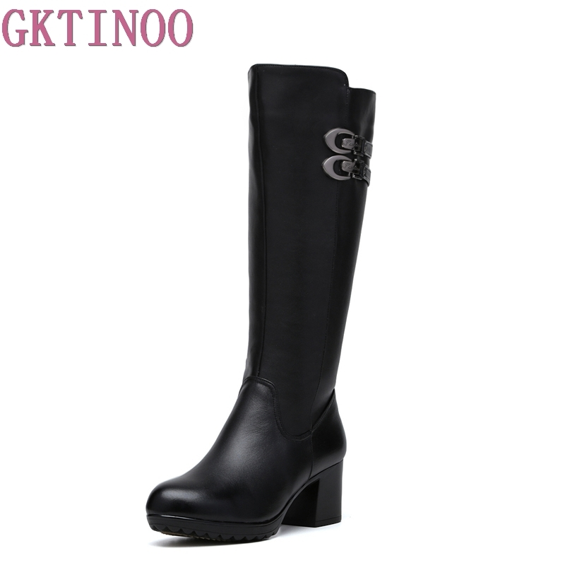 GKTINOO Women Winter Shoes High Quality Knee High Boots Warm Plush Genuine Leather Women Winter Boots sunshine protective clear pet screen guard film for htc one 2 m8 transparent 5 pcs