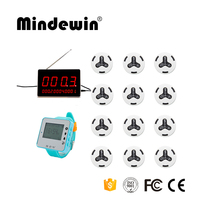 2017 High Quality Wireless Call Button System 1pc LED Display Receiver +1pc Wrist Watch Pager +12pcs Calling Waiter Button