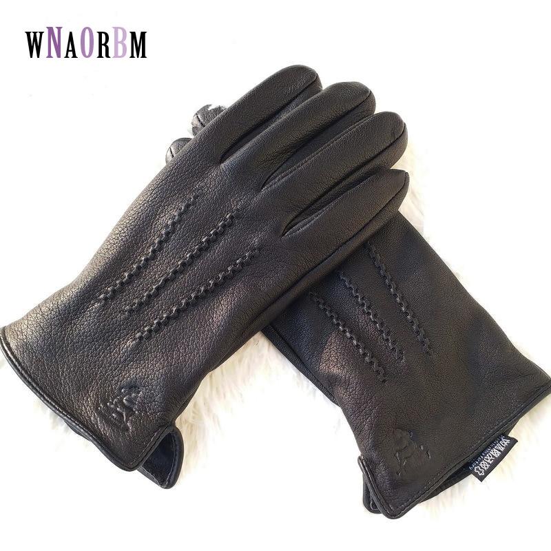 2019 New Winter Man Deer Skin Leather Gloves Male Warm Soft Men's Glove Black Three Lines Design Men Mittens Sheep Hair Lining