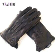 2019 New Winter man deer skin leather gloves male warm soft mens glove black three lines design men mittens sheep hair lining