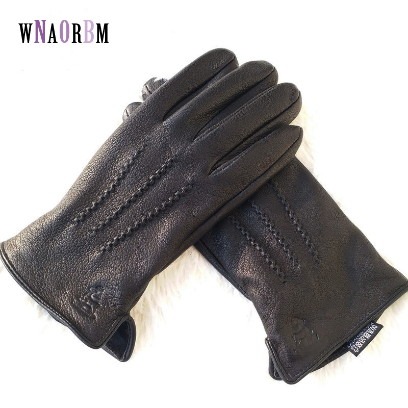 2020 New Winter Man Deer Skin Leather Gloves Male Warm Soft Men's Glove Black Three Lines Design Men Mittens Sheep Hair Lining