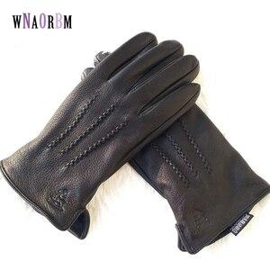 Image 1 - 2020 New  man deer skin leather gloves male warm soft mens glove black three lines design men mittens sheep hair lining