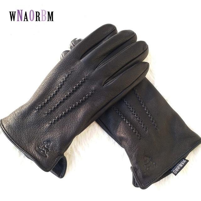 2020 New  man deer skin leather gloves male warm soft mens glove black three lines design men mittens sheep hair lining