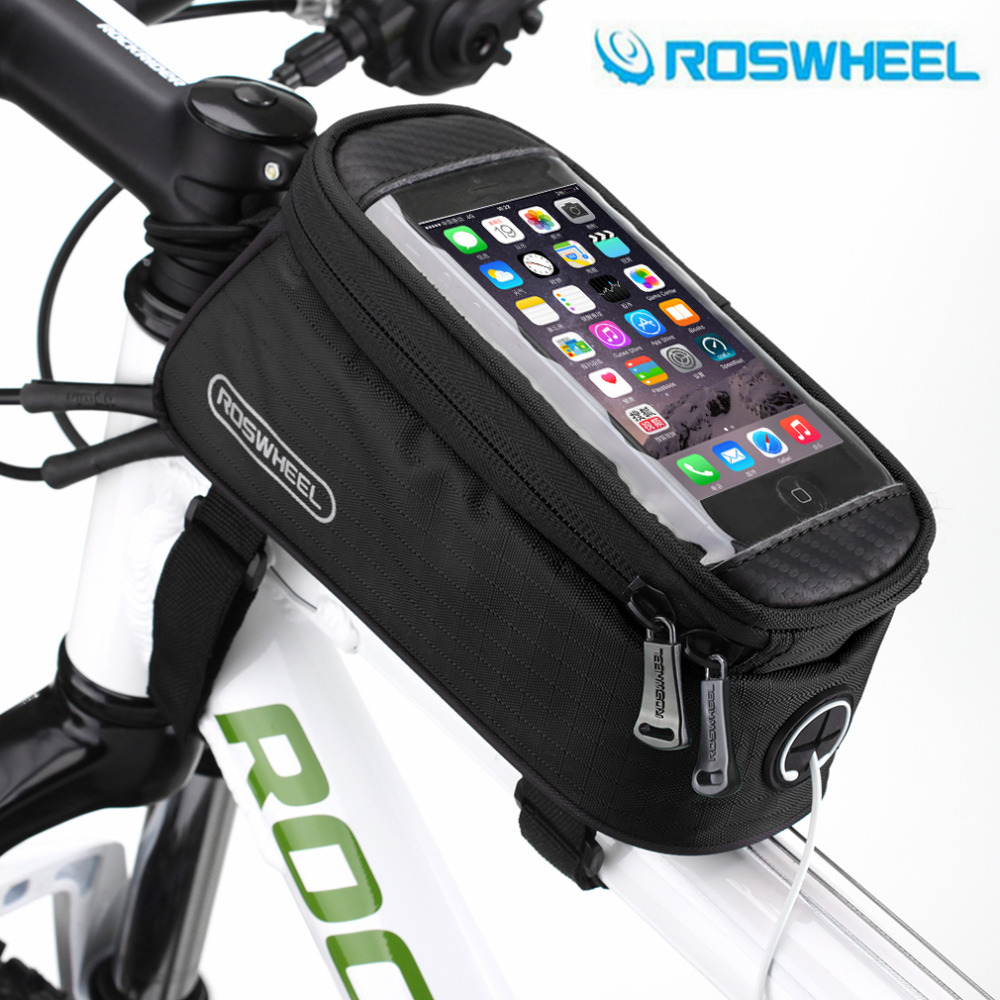 "ROSWHEEL 4.8"" 5.7""Cycling Bike Bicycle bags panniers Frame Front Tube Bag For Cell Phone MTB Bike Touch Screen Bag free shipping"