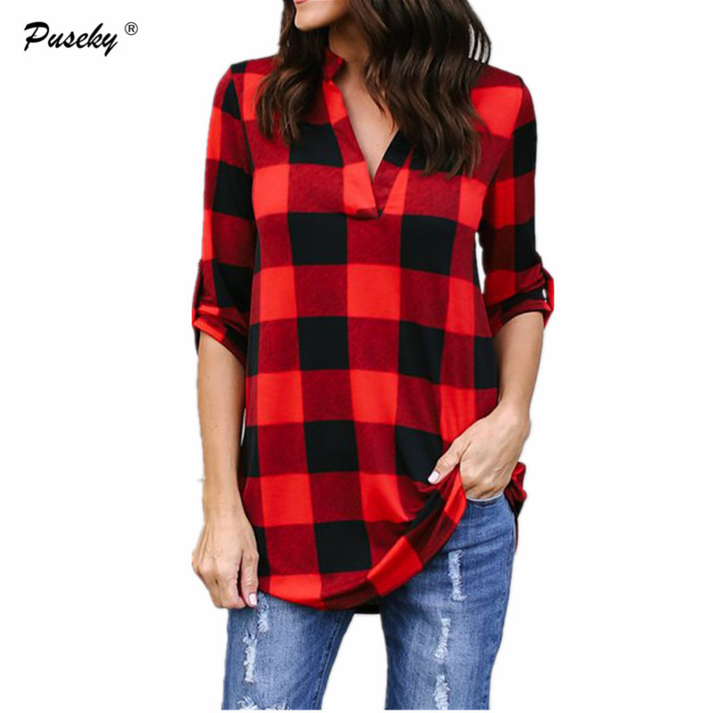 2018 New Checkered plaid   blouses     shirt   female V neck long sleeve casual slim women plus size   shirt   office lady tops M-3XL