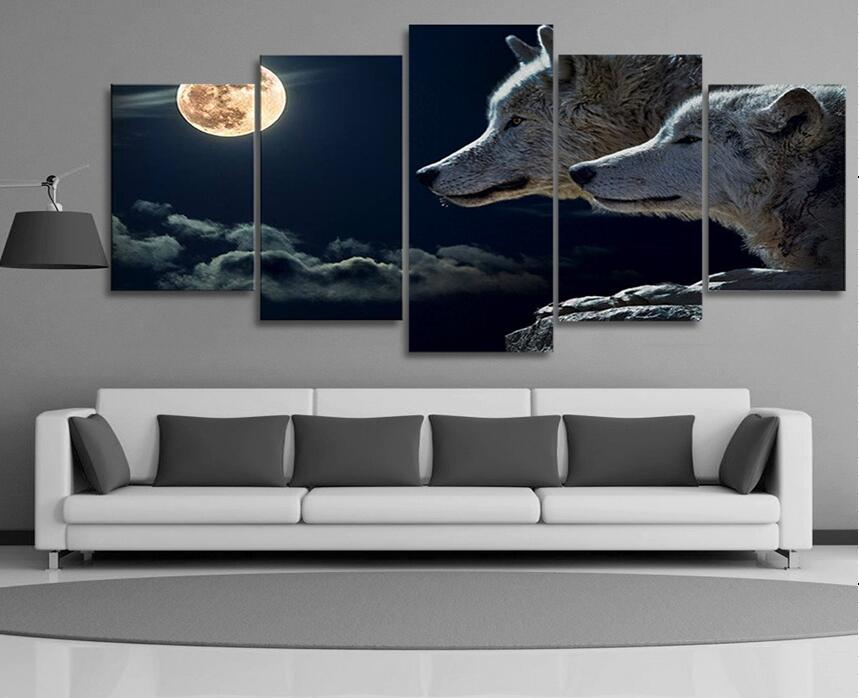 5 pieces night wolf animal wall art picture modern home for House decoration pieces